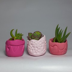 Polymer Clay Tiny Pots set of 3 Pink Lover