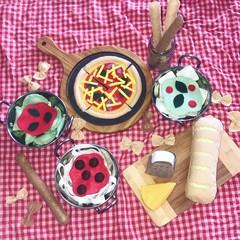 pasta pizza italian play food set felt food