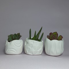 Polymer Clay Tiny Pots set of 3 White Bliss