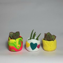 Polymer Clay Tiny Pots set of 3 Bright love