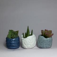Polymer Clay Tiny Pots set of 3  Grey Bae