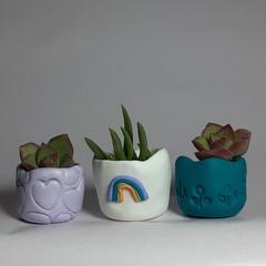 Polymer Clay Tiny Pots set of 3 Pastel Rainbow