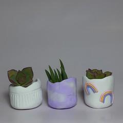 Polymer Clay Tiny Pots set of 3  Cloud + Rainbows