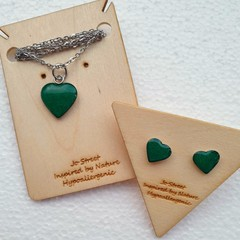 Tiny Emerald Green Heart Earrings and Necklace