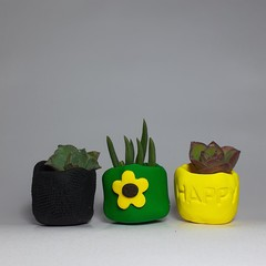 Polymer Clay set of 3 Tiny Pots Sunflower Power