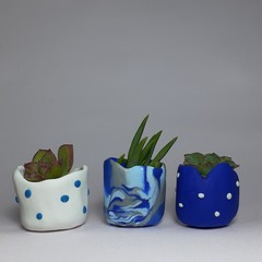 Polymer Clay Tiny Pots set of 3 Blue Lover