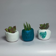 Polymer Clay Tiny Pots set of 3 Blended Love