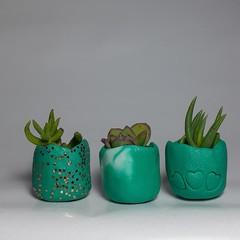 Polymer Clay Tiny Pots set of 3 Aqua Love