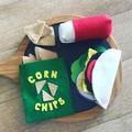 Mexican theme food pretend play set felt taco, burrito, nachos/corn chips