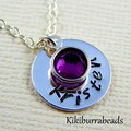 Personalized name necklace,birthstone necklace,hand stamped name and birthstone