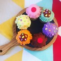 Felt food pretend play cupcake assorted colours set of 6