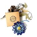 Gift Boxed Bloom Rustic Decoration Keepsake Flower Button Light Blue