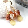 Yellow Opal and Carnelian Cluster Drop Earrings