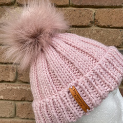Knitted pink beanie fake fur PomPom optional removable, child size pink PomPom b