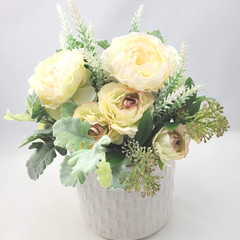 Artificial Champagne Flower Arrangement in Ivory Ceramic Pot - Mothers Day Gift