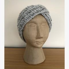 Chunky grey crocheted earwarmer headband