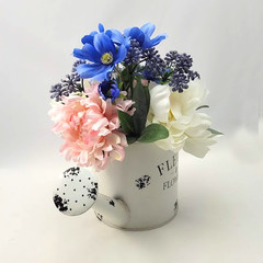 Artificial Blue Pink & White Flower Arrangement in Watering Can - Mothers Day