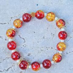 Red & Gold Stretch Bracelet