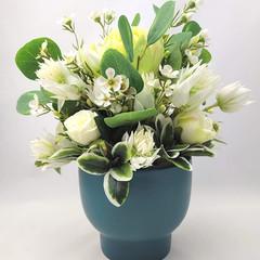 Green & White Flower Arrangement in Dark Green Ceramic Vase - Mothers Day Gift