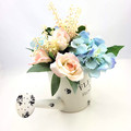 Artificial Pale Blue & Pink  Flower Arrangement in Watering Can - Mothers Day