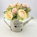 Artificial Apricot Pink Flower Arrangement in Watering Can - Mothers Day Gift