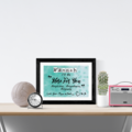 Custom Name, personalised instant download, Green Printable Poster, Bedroom