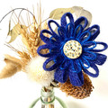 Gift Boxed Bloom Rustic Decoration Keepsake Flower Button Blue