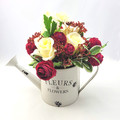 Artificial Red & Cream Flower Arrangement in Watering Can - Mothers Day Gift