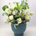 Green & White Flower Arrangement in Dark Green Ceramic Vase - Mothers Day Gift