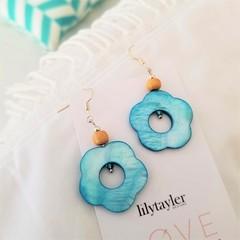 Japanese Blue Coral Shell Earrings