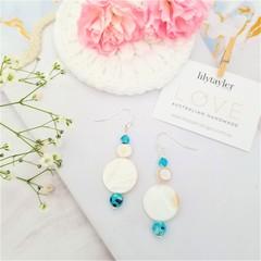 Blue Agate Coral Shell Earrings