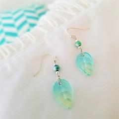 Czech Glass Leaf Agate Earrings