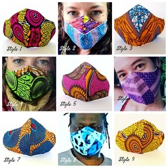 Reusable African Print Face Masks - Measured to Fit - 3 layers - 26 styles