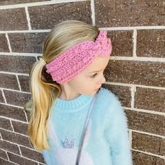 Girls crochet headband, size 4-10 years crochet ear warmer