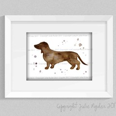Brown Sausage Dog, Brown Dachshund, Instant Download, Watercolour Print
