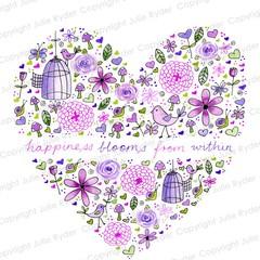 Purple Heart Print, Instant Download, Birds, Hearts, flowers, Watercolours, Ink