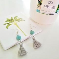 Amazonite Soft Grey Tassel Earrings