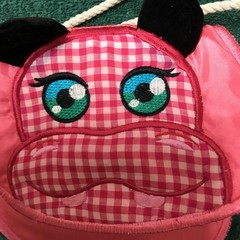 Hippo purse pouch- hand made machine embroidered design.