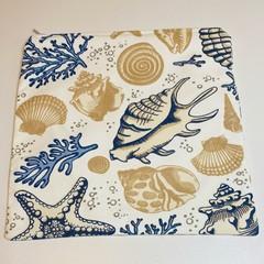 Seashell fabric pouch