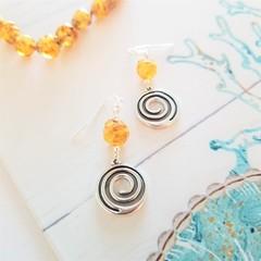 Amber Murano Glass Swirl Charm Earrings
