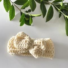 Baby crochet headband, size 0-6m or 6-12m, crochet ear warmer