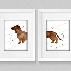 Set of 2 Brown Sausage Dog, Brown Dachshund, Instant Download, Watercolour Print
