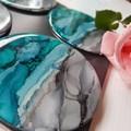 Ink art resin coasters - sample stock.