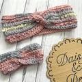 Baby crochet headband, size 0-6m crochet ear warmer
