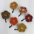 6 Autumn Inspired Crocheted Flower Hair Clips | Hand Crochet | Free Postage