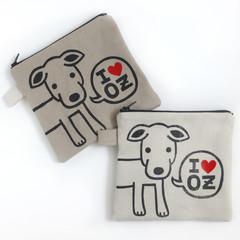 Handmade Zipper Pouch • Zip Bag - I love OZ Doggy 15x15