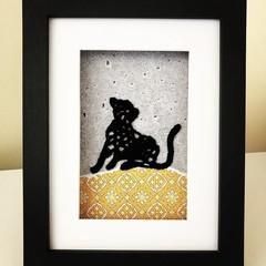 Black cat crocheted frame