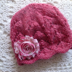 Baby girl's lacy beanie w chiffon flower; fits up to 6 months;  8-ply wool