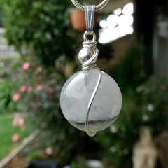 Tourmalinated Quartz pendant, unisex gemstone, Sterling silver wire wrapped