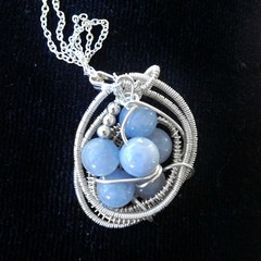 Aquamarine sterling silver pendant, blue bead cluster, bird's nest wire wrapped